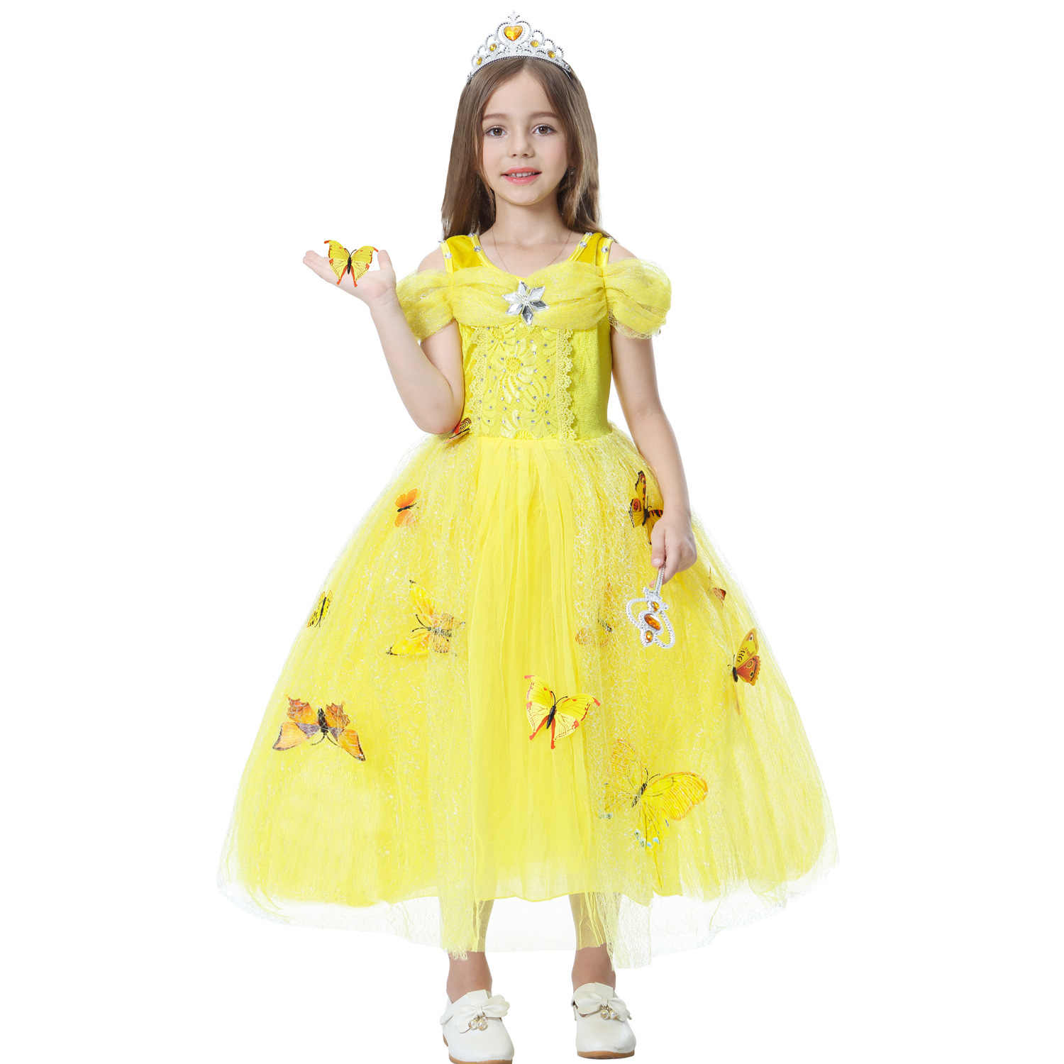 af8374aab406 ... Children Sleeping Beauty Belle Party Kids Carnival Cosplay Clothing for  2-10Yrs Girls Cape + ...