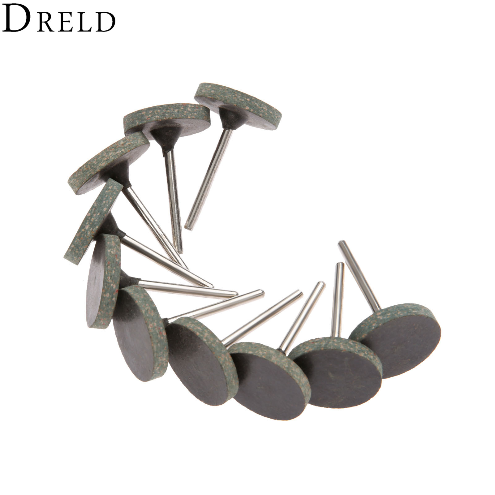 DRELD 10Pcs Dremel Accessories 25mm Rubber Grinding Head Buffing Polishing Grinding Wheel For Metal Wood Rotary Tool 3mm Shank
