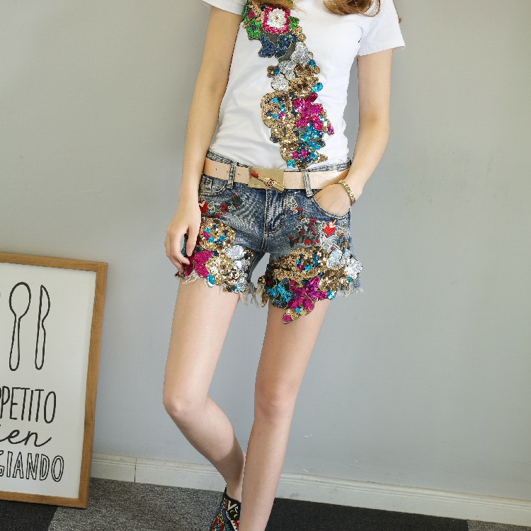 QA1198 New arrival embroidery sequined fashion element summer   shorts   women ripped tassel denim   short