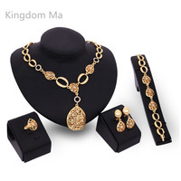 Kingdom Ma Hot Women Fashion Gold Color African Nigerian Beads Necklace Jewelry Set Wedding Hollowed Out Jewelry Set For Women