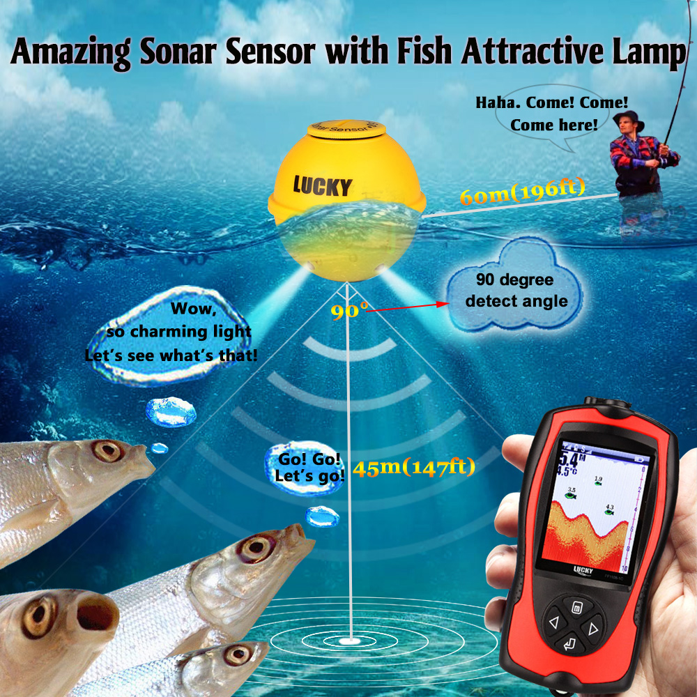 Lucky FF1108-1CWLA Portable Fishing Sonar Sensor fish finder 45M Water Depth High Definition LCD Echo Sounder Fishfinder #B9 lucky ff718li w portable fish finder wireless sonar fishfinder 45m fish depth alarm echo sounder