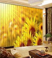 Top Classic 3D European Style High Quality Customize Size Modern Yellow Sunflower Custom Curtains For Living