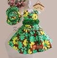 Nova Moda Floral Meninas Vestido com Chapéu de impressão Verde Da Flor do verão vestido da menina do vestido de partido frete grátis