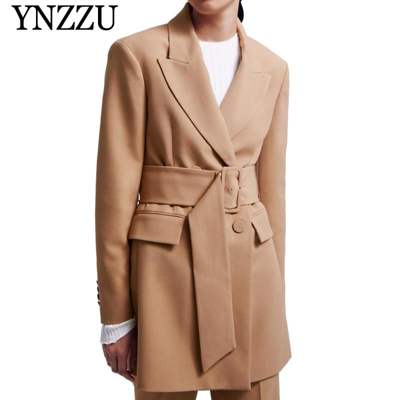 Marque 2019 printemps élégant Blazer femmes Long Style Double poitrine tenue de bureau manteau cranté col automne vêtements d'extérieur avec ceinture AO940