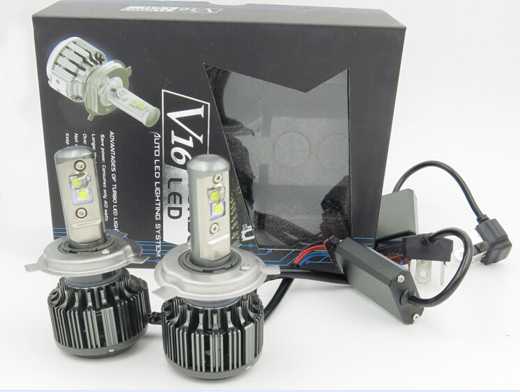 one pair V16 H4 Hi/lo 40w 3600LM Turbo LED Automobile turbo headlights H1 H3 H7 880 9005 9006 H11 30W led lightings 6000K