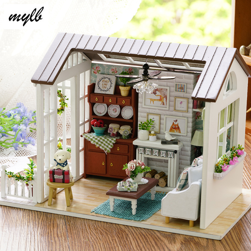 New Doll House Toy Miniature Wooden Doll House Loft With: Mylb Doll House Miniature DIY Dollhouse With Furnitures