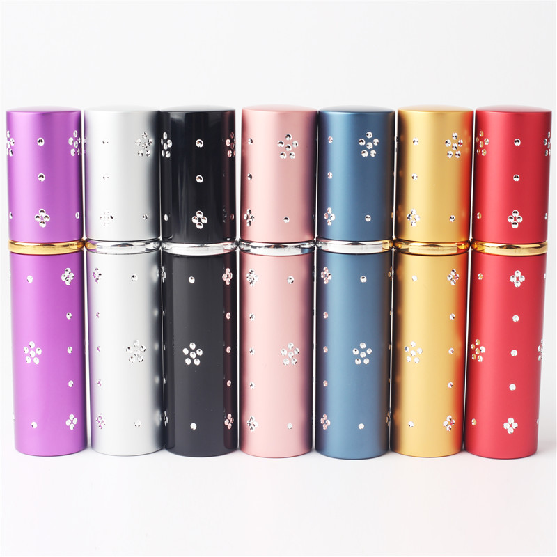 5ml Diamond Aluminium Spout Flask Glas Tank Atomizer Perfume Travel Uppladdningsbar