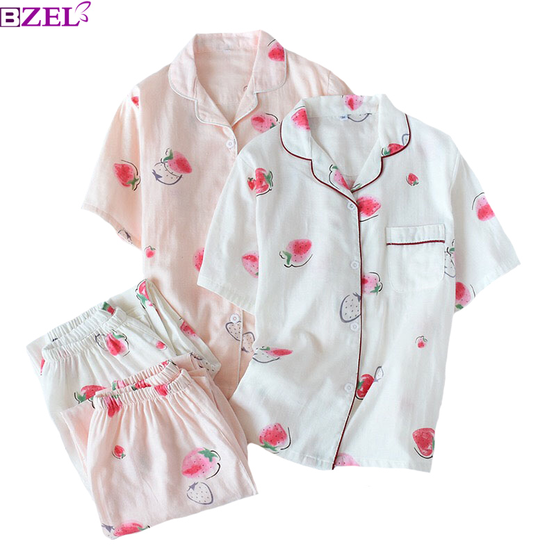 Summer New Korean Style Women Sweet   Pajamas     Set   Turn-down Collar Short Sleeve+Pants Comfort Cotton Sleepwear Thin Loose Homewear