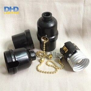 Image 3 - 50units/set black bakelite light sockets with chain switch or key switch E27 lamp holders black plastic lighting sockets