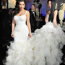 kejiadian Mermaid wedding dresses Organza court train