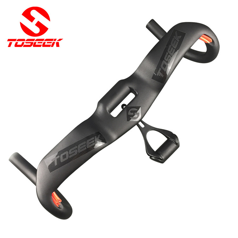 TOSEEK New Full Carbon Fiber bicycle Handlebar Road Bike Handlebar Wind Break Bent bar UD Matte Stopwatch Stents 31.8mm Black nuckily r007 road bike bicycle pu handlebar tape belt wrap black