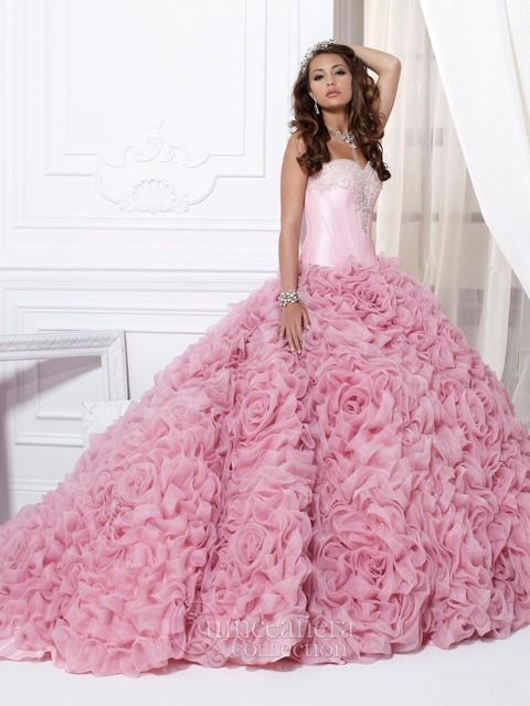 Vestidos De 15 Anos Rebordeó Tieredd Hecho A Mano Flowes Vestido de Quinceanera Rosado 2016 Vestidos Debutante Dulce 16 Vestido QE7