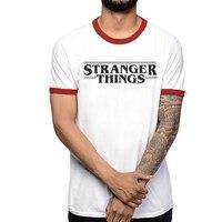 2017 Stranger Things Letter Print Men T Shirt White Red Patchwork Short Sleeves Summer Man Bottoming