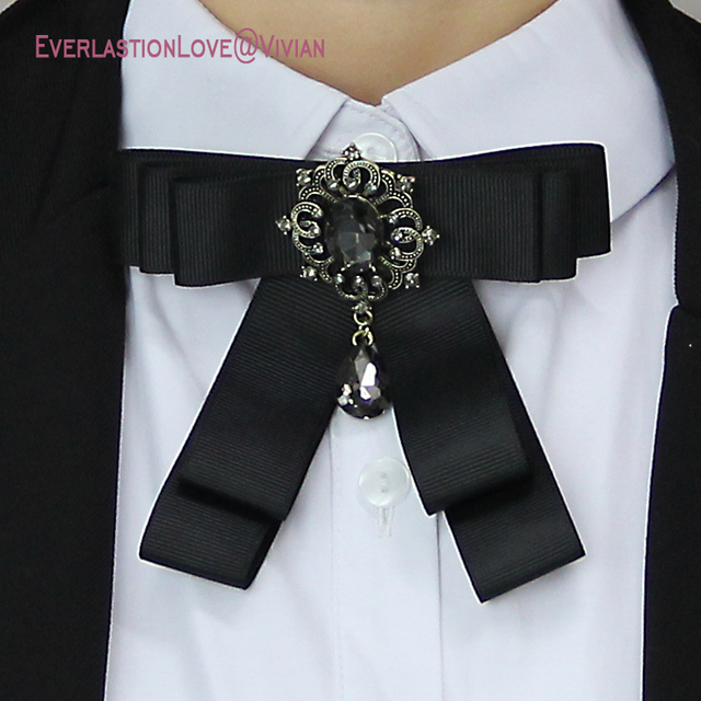 dc4d3b95b40 Aliexpress.com   Buy Vintage Fashion Fabric Bow Brooches For Women Neck Tie  Pins Party Wedding Large Ribbon Brooch Jewelry Clothing Accessories Gifts  from ...
