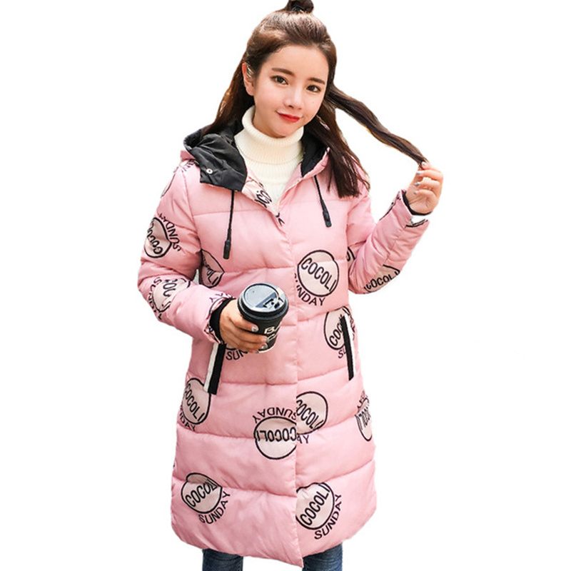 2017 Long Printing Parka Manteau Femme Winter Jacket Women Warm Cute Cotton Padded Coat Women Hooded Jacket Female Parkas C3662 bishe women winter down jacket warm long parka femme 2017 faux fur collar hooded cotton padded parkas female manteau femme 4xl