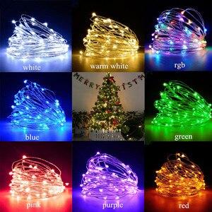 Image 5 - Bande lumineuse Led, guirlande lumineuse de 10m, avec piles AA, DC5V, CR2032, alimenté par USB, pour décoration de mariage, fêtes de noël et de nouvel an