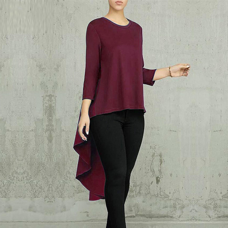 2019 New Arrival Autumn Asymmetrical Tunic Women 39 s Tops Blouse Pleated Long Sleeve Shirt Female Swallowtail Blusas Oversized in Blouses amp Shirts from Women 39 s Clothing