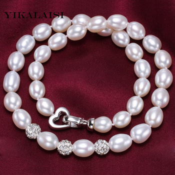 YIKALAISI 2017 8-9mm natural pearl choker necklace jewelry for women 925 sterling silver jewelry drop pearl best gift for women фото