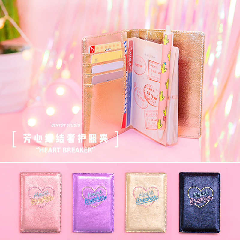 Lovely Heart Women Passport Holders Card Holders PU Leather Cartoon Embrodery Travel Accessories Organize Passport Wallet
