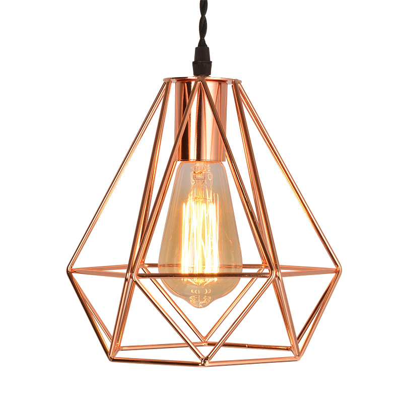 Modern Metal Diamond Cage Pendant Light Vintage Rose Gold Birdcage Lamp Creative Hanging For Restaurant Living Room