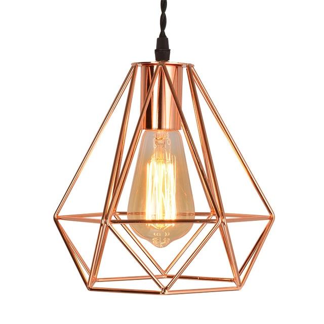 Us 18 9 30 Off Aliexpress Modern Metal Diamond Cage Pendant Light Vintage Rose Gold Birdcage Lamp Creative Hanging For