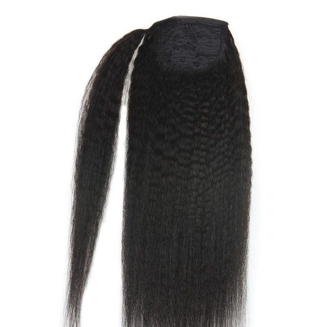 Full Shine Clip in Ponytail Hair Extensions For Afro Women 100g Natural Black Color #1B 100% Remy Human Hair Extensions Ponytail 1