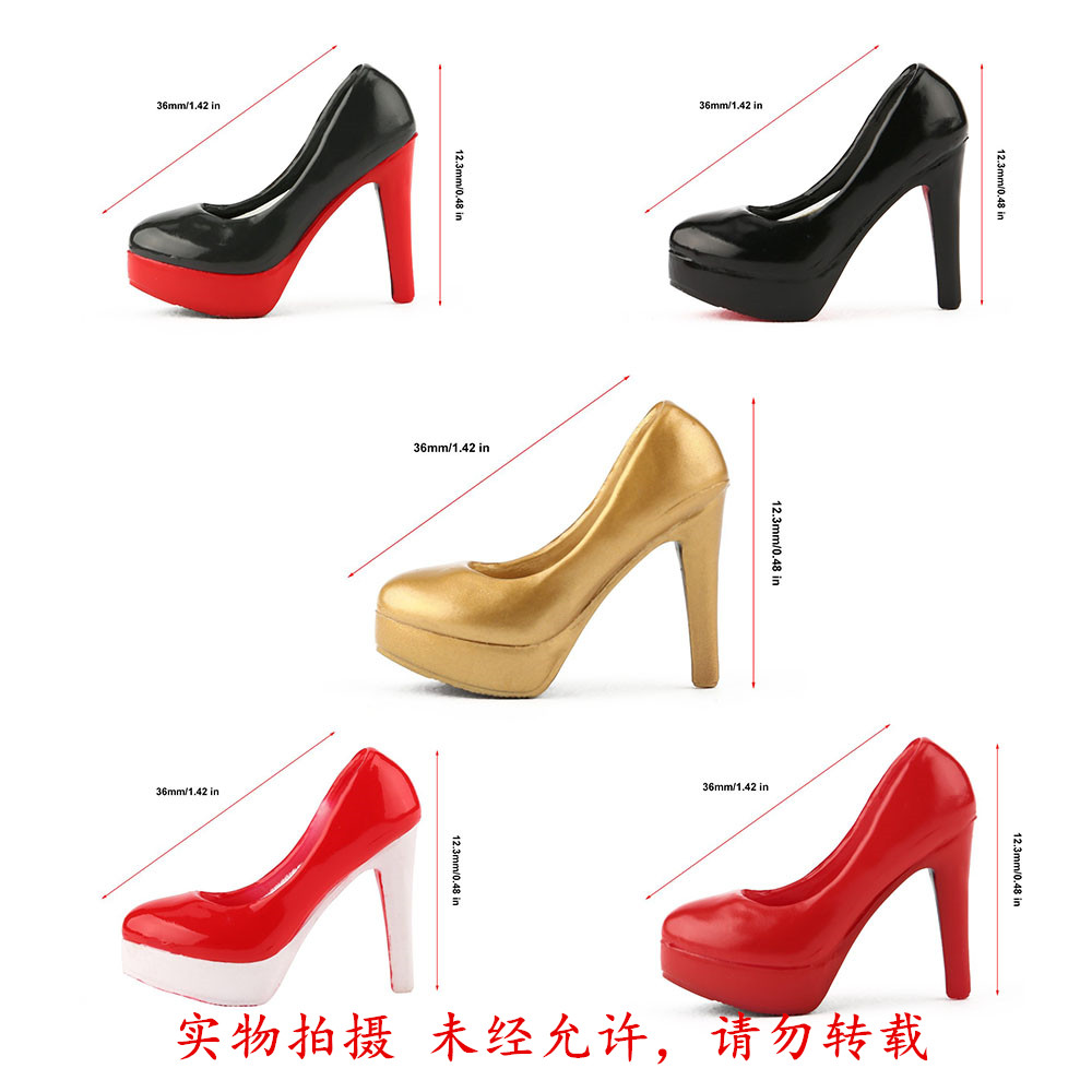 1 6 new BALCK RED shoes female girl woman high heeled leather shoes empty inside for 12 quot action figure body model accessory toys in Action amp Toy Figures from Toys amp Hobbies