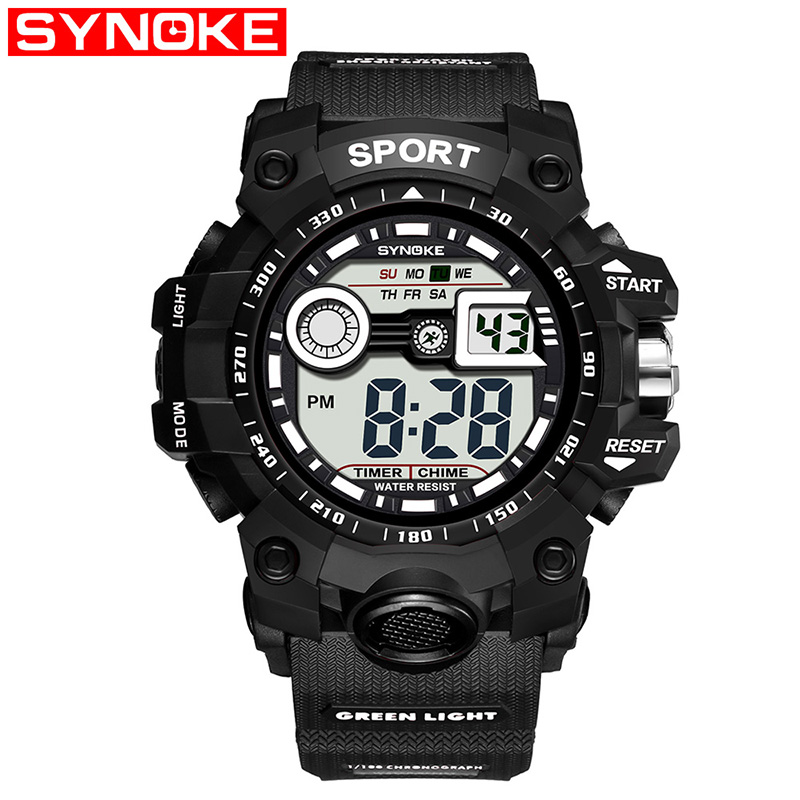 SYNOKE Children Sport Watch Boys Life Waterproof Digital LED Display Sports Watches Kids Alarm Date Clock Wristwatch Gift