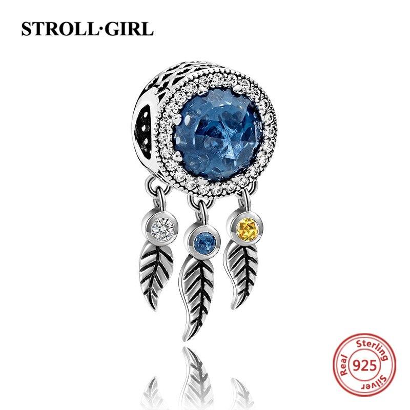 2018 nuevo del encanto de la plata esterlina 925 sueño catcher piedra azul bead fit pulsera auténtica de pandora joyería para mujeres regalos