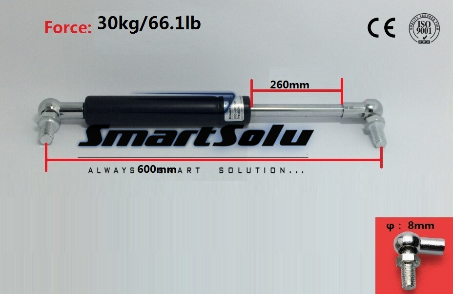 Free Shipping 600mm X 250mm X 30kg 30kg 66.1lb Force Gas Strut Shock Spring Lift Support Rod 24.4 Length 2qty front hood shock damper strut spring lift support for chevrolet saturn vue