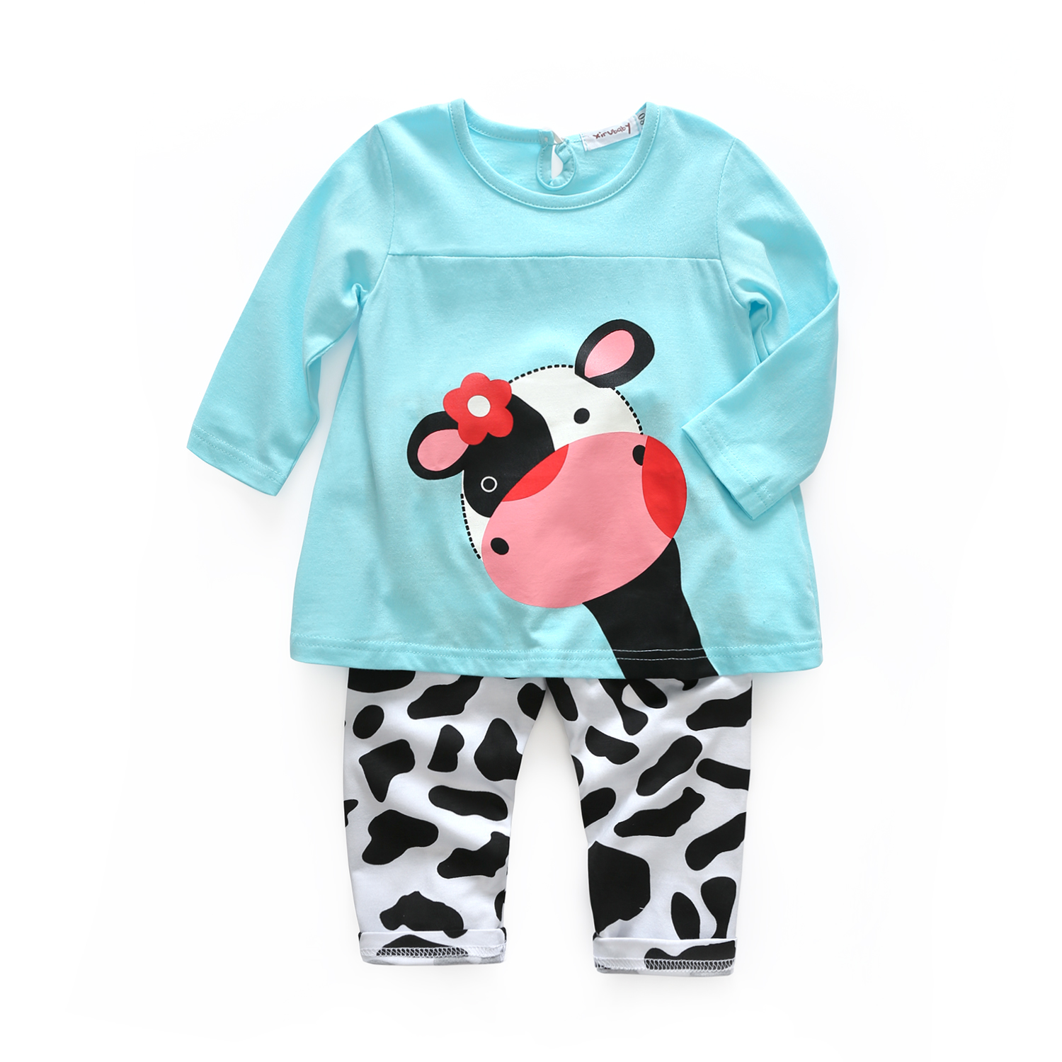 Baby clothing set newborn clothes cotton t shirt with legging cute cartoon cow printed baby girls
