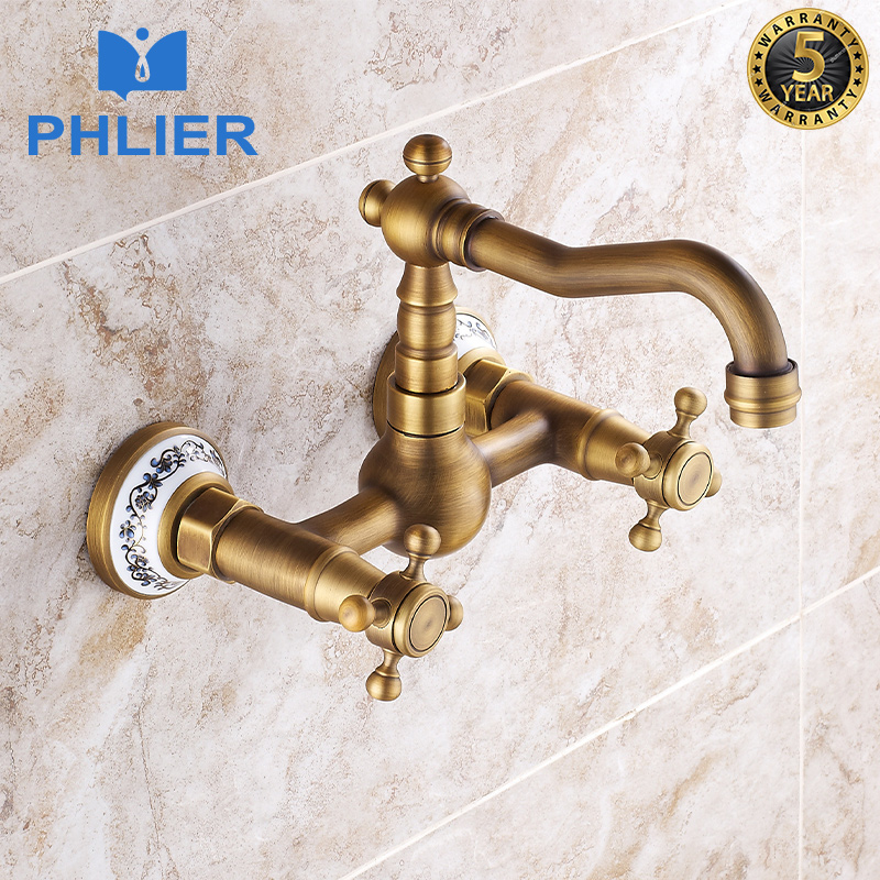 PHLIER Antique Brass Wall Mounted Bathroom Faucet Dual Cross Handles 360 Swivel Spout Touch Faucet Cold and Hot Water Tap B404AT antique brass swivel spout dual cross handles kitchen