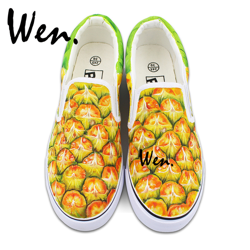 Wen Fruit Pineapple Style Man Woman Sneakers Shoes Canvas Slip on Original Hand Painted Shoes Skateboard wen mexican style skulls totem original design hand painted shoes for men woman slip ons custom canvas sneakers