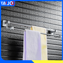 цена Double Towel Bar Aluminum Bathroom Towel Holder Hanger Rail Storage Shelf Washroom Toilet Wall Mounted Towel Rack Hanging Holder онлайн в 2017 году