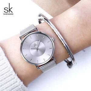 Image 3 - Shengke Fashion Silver Steel Women Watch Set with Box Luxury Bracelet Watches Wrist Watches Set Xmas Gift Watch for Women