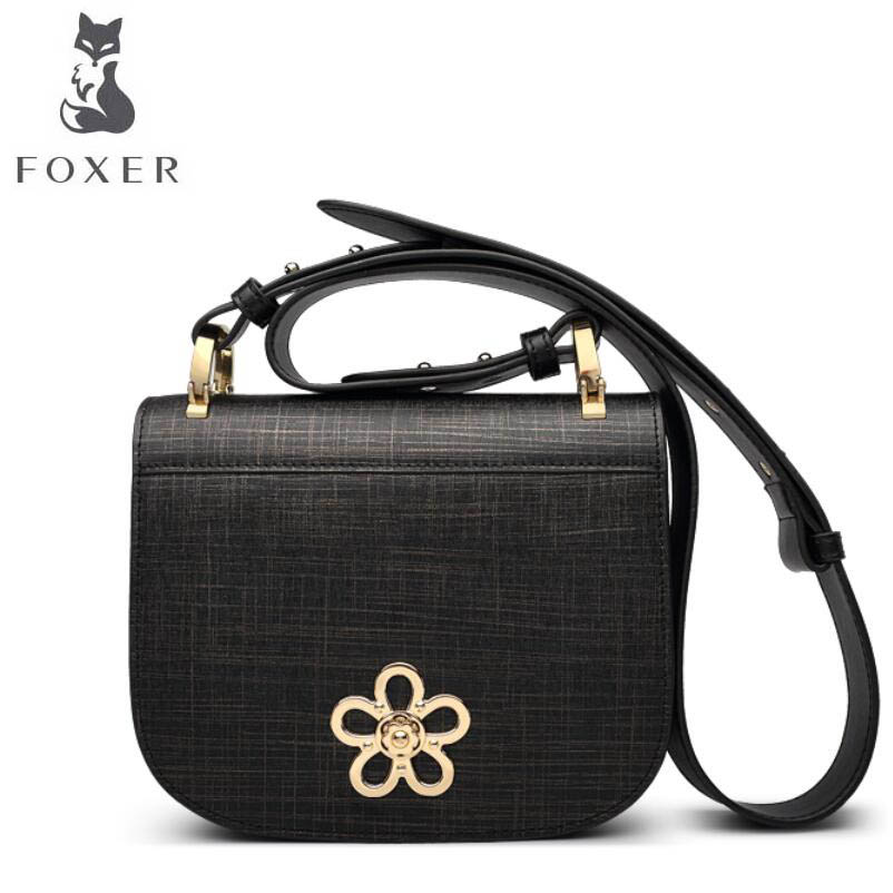 FOXER 2017 new brand women leather bag fashion women leather handbags shoulder Crossbody Bags quality cowhide small bag 2018 new foxer brand women leather bag high quality fashion chains women shoulder messenger bag cowhide black simple small bag