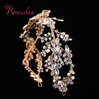 Luxury Crystal Bridal Headpiece Wedding Rhinestone Hair Accessories Bridal Tiaras Elegent Handmade Headbands RE597