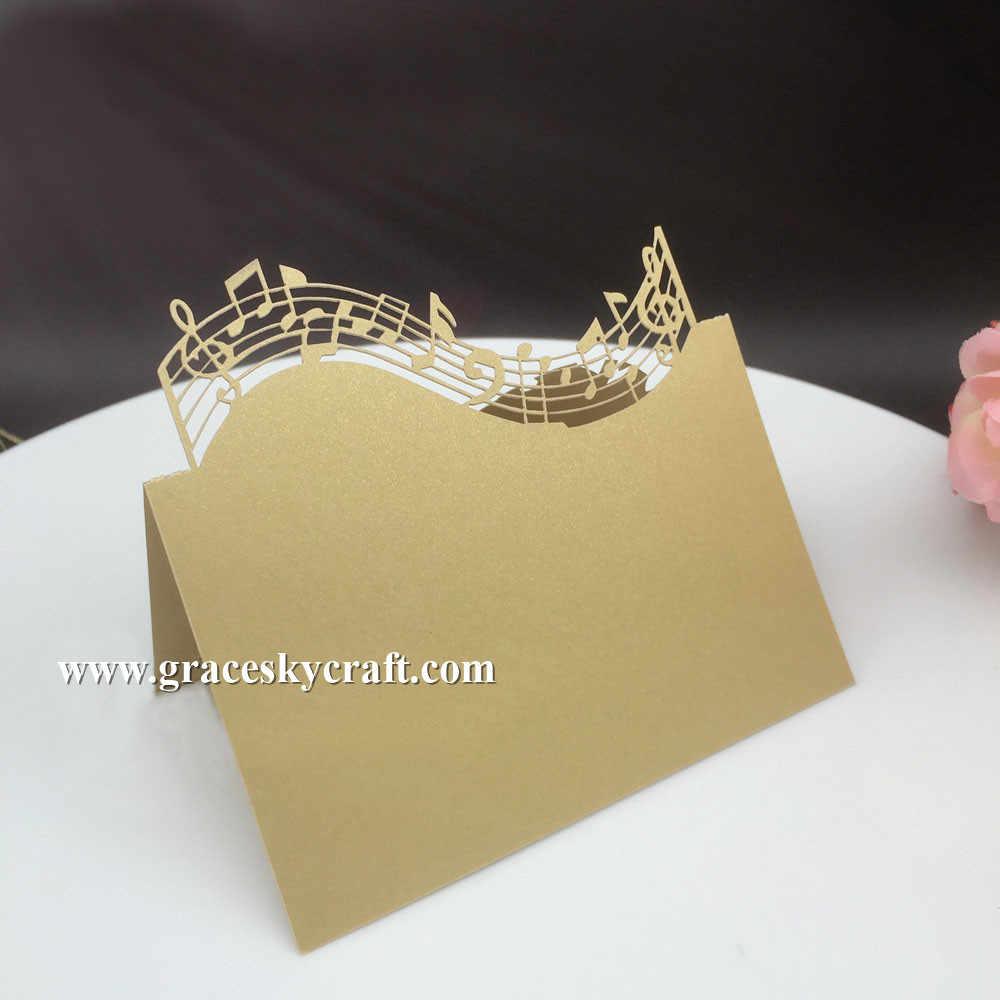 50 Uds envío gratis diseño de nota musical de corte por láser de papel de tarjetas de nombre y lugar para las mesas y envoltorio de pastel decoración de la fiesta