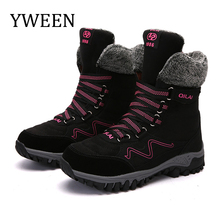 YWEEN Womens Snow Boots Fashion Suede Leather Women Winter Warm Plush boots Waterproof Ankle Flat shoes 35-42