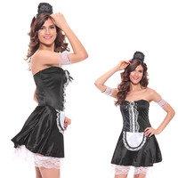 exotic apparel maid lingerie sexy costume sissy maid dress satin lockable