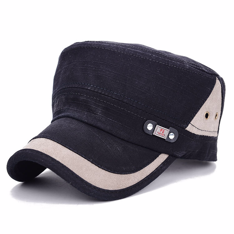 952946529f9 Army Cap Men Women Adjustable Flat Top Caps Washed Cotton Military Style  Cadet Hat