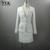 Роскошная элегантная женская белая Цветочная Лоскутная твидовая куртка, юбка с запахом, комплект из двух предметов, женская одежда с жемчуж