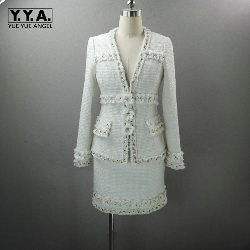 Luxury Elegant Lady White Flower Patchwork Tweed Jacket Wrap Skirt Two Piece Set Women Outfits Pearls Beading V Neck Office Suit