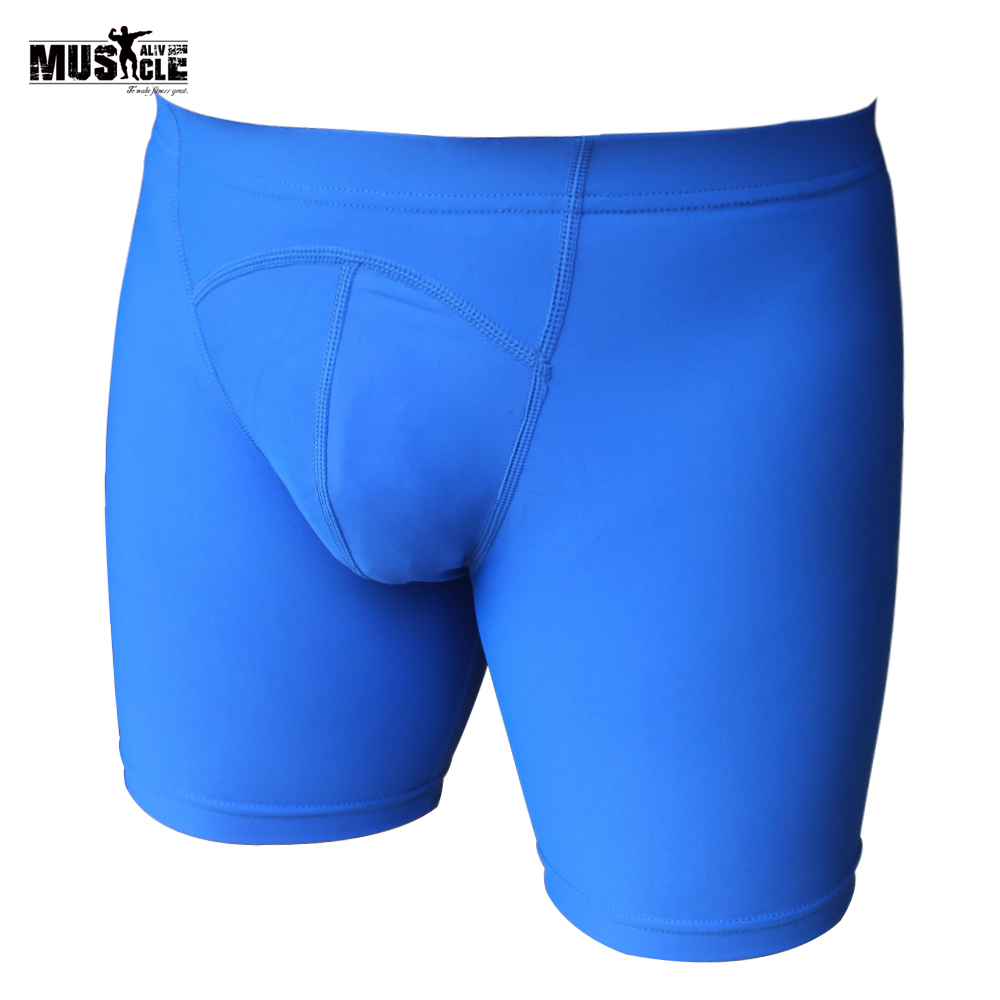 MUSCLE ALIVE Men's Tight Training Shorts Gym Sexy Slim Fit Summer Male Workout Bodybuilding Skinny Shorts Fitness Compression