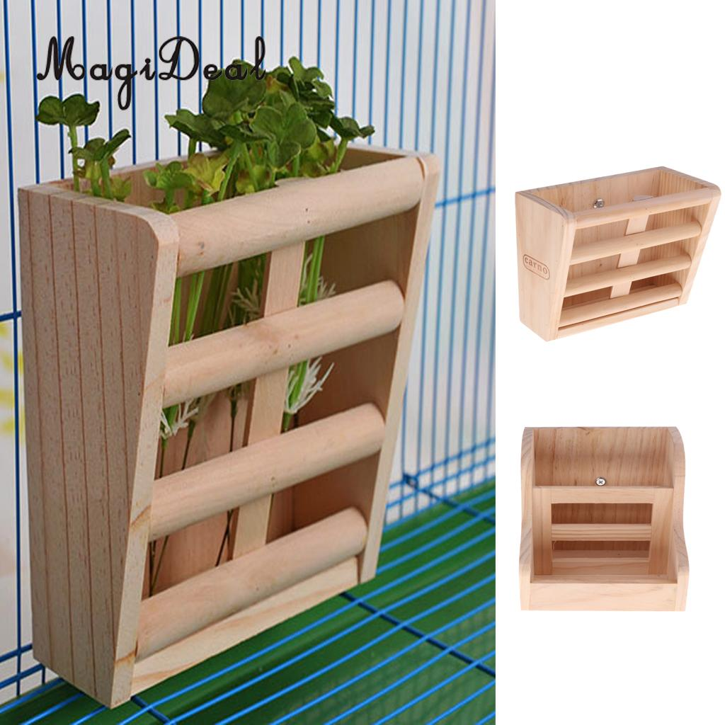 2-in-1 Functional Rabbit Wooden Bowl Feeder Bunny Guinea Pig Chinchilla Hay Grass Rack Manager Small Animals