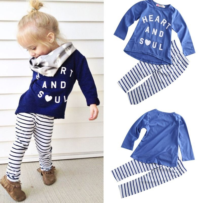 2016 clothes girls baby kids boys children clothing sets suits pajamas girls 2pcs sleepwear cotton tshirt strip leggings outfits set of clothes children girls boys baby clothing milk print 3pcs suit toddler kids christmas pajamas sleepwear top 2017 new