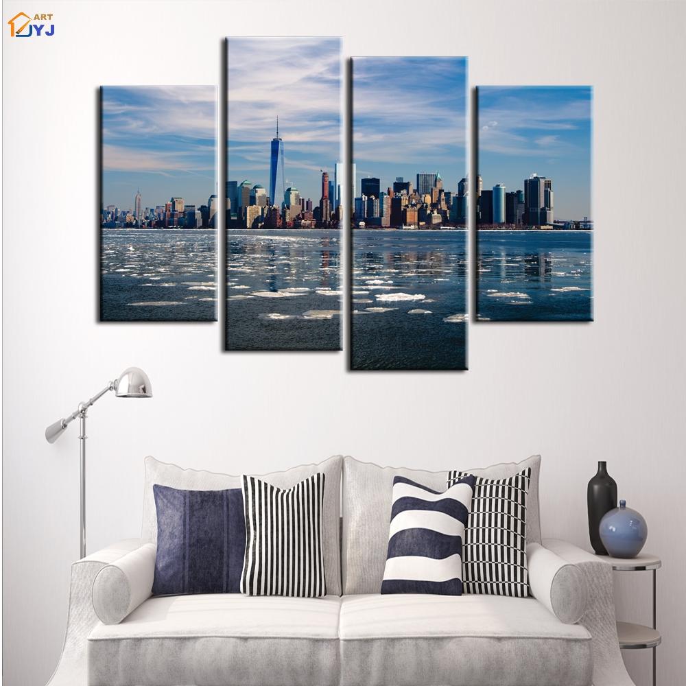 4 pcs énorme taille manhattan paysage urbain moderne style photo wall art home decor hd imprimer