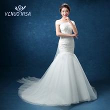 Mermaid Wedding Dress VLNUO NISA Elegant White Classic Lace Bridal Dress Boat Neck Delicate Bow Wedding Gown Robe De Mariee 20