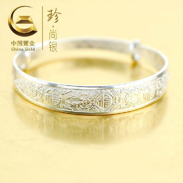 Hot Sale China Gold Brand Female Bracelet Genuine S990 Sterling Silver Bangle Decorative Pattern Trend Bracelet For Women CGB023