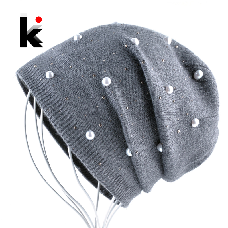 Ladies Fashion Rhinestone Pearls Beanie Women Autumn Winter Knitted Hats Women's Solid Color Bonnet Caps Female Knit Skullies